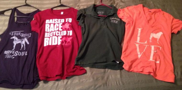 One Horse Design tank, OTTB shirt, polo from a previous beloved barn, and another OHD shirt